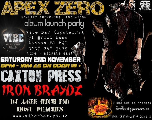 Apex Zero album launch party at The Vibe Bar London